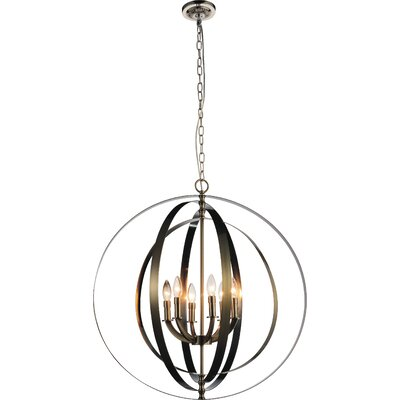 Delroy 6-Light Candle-Style Chandelier Finish: Satin Nickel
