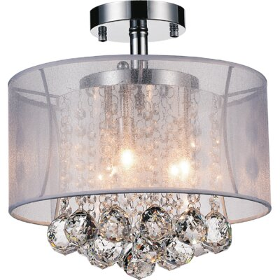 3-Light Semi Flush Mount Shade Color: Clear White