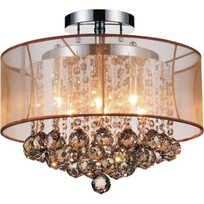 6-Light Semi Flush Mount Shade Color: Champagne Gold
