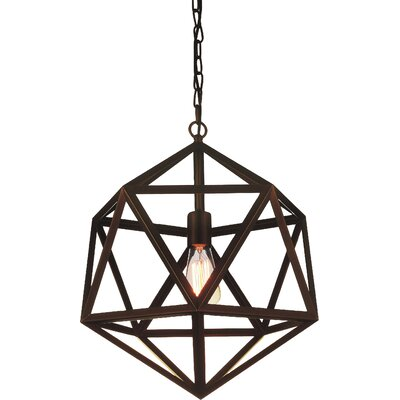 Dia 1-Light Pendant Finish: Antique Bronze, Size: 92 H x 17 W x 17 D