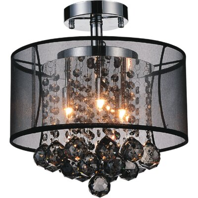 3-Light Semi Flush Mount Shade Color: Smoke Black