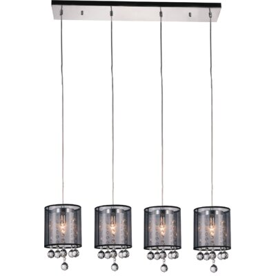 4-Light Kitchen Island Pendant Shade Color: Smoke Black
