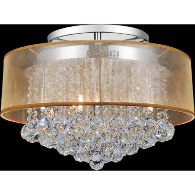 9-Light Semi Flush Mount Shade Color: Clear Gold