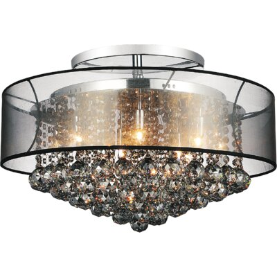 12-Light Semi Flush Mount Shade Color: Smoke Black