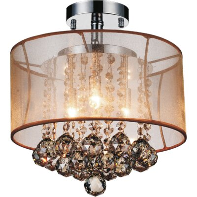 3-Light Semi Flush Mount Shade Color: Champagne Gold