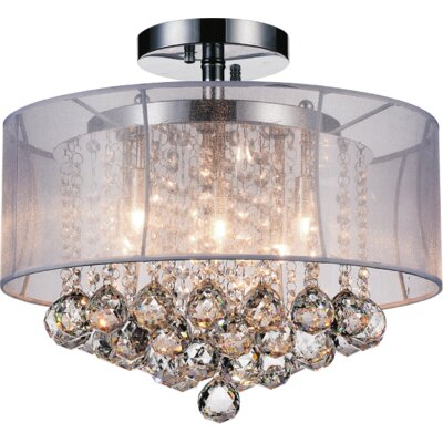 6-Light Semi Flush Mount Shade Color: Clear White