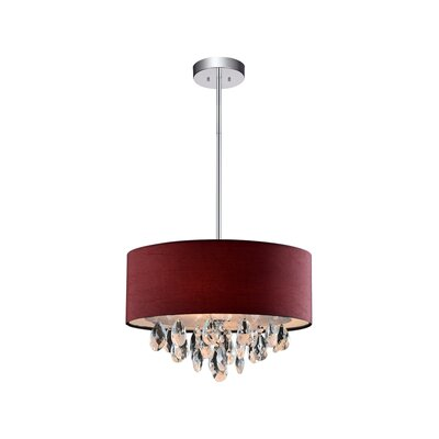 Dash 3-Light Drum Pendant Shade Color: Wine Red