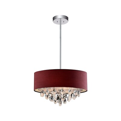 Dash 4-Light Drum Chandelier Shade Color: Wine Red