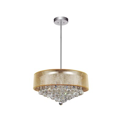12-Light Drum Pendant Shade Color: Clear Gold