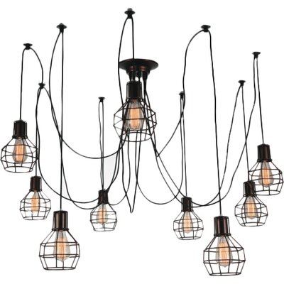 Kourtney 9-Light Candle-Style Chandelier Finish: Black
