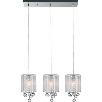 3-Light Kitchen Island Pendant Shade Color: Clear White