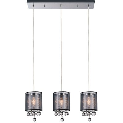 3-Light Kitchen Island Pendant Shade Color: Smoke Black