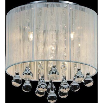 Water Drop 4-Light Flush Mount Shade Color: White