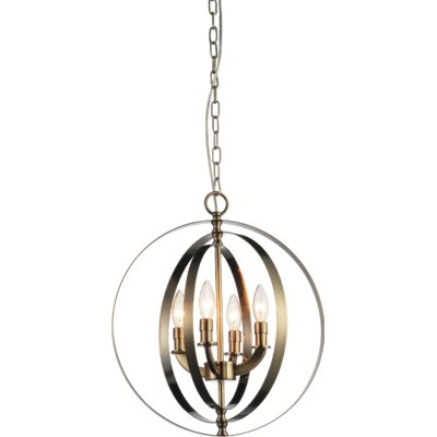 Delroy 4-Light Candle-Style Chandelier Finish: Satin Nickel