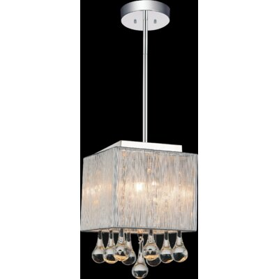 Water Drop 1-Light Drum Pendant Shade Color: Silver