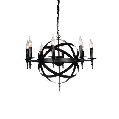 Troy 8-Light Candle-Style Chandelier Finish: Black