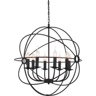Bird Cage 8-Light Candle-Style Chandelier Size: 26 - 144 H x 24 W x 24 D
