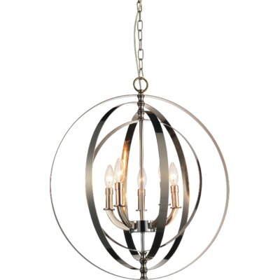 Delroy 5-Light Candle-Style Chandelier Finish: Satin Nickel