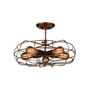 Pamela 5-Light Semi Flush Mount Finish: Rust