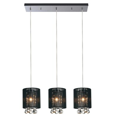 Water Drop 3-Light Kitchen Island Pendant Shade Color: Black
