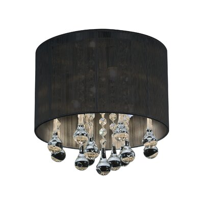 Water Drop 4-Light Flush Mount Shade Color: Black