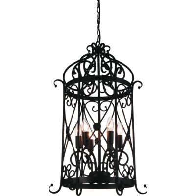 Kate 6-Light Foyer Pendant Finish: Black