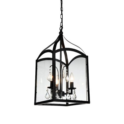 Save 3-Light Foyer Pendant Finish: Black