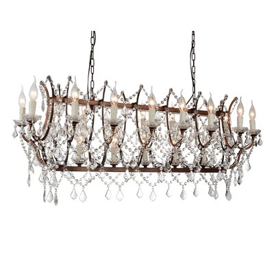 Phraya 24-Light Candle-Style Chandelier Finish: Light Brown