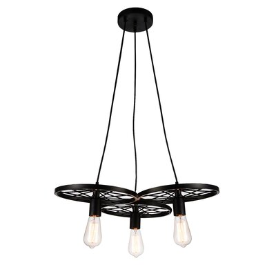 Ravi 3-Light Cluster Pendant Finish: Black