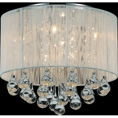 Water Drop 6-Light Flush Mount Shade Color: White