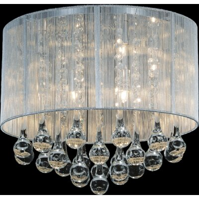 Water Drop 6-Light Flush Mount Shade Color: Silver
