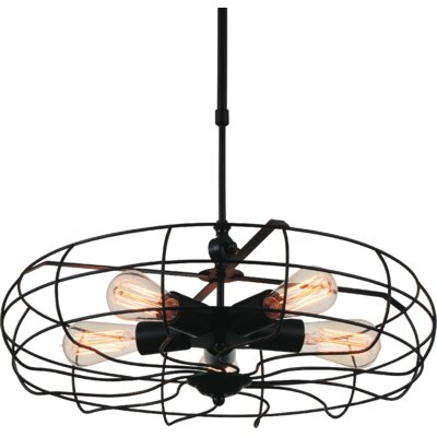 Pamela 5-Light Foyer Pendant Finish: Black