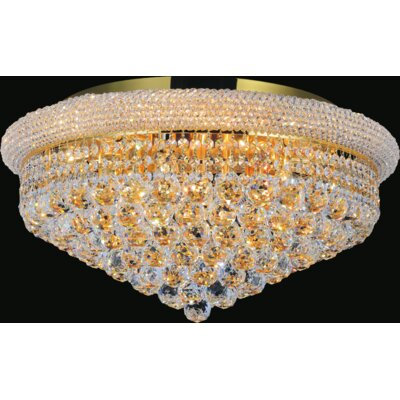 19-Light Empire Flush Mount Finish: Gold