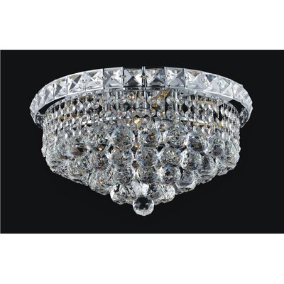 Luminous 4-Light Flush Mount Finish: Gold, Size: 9 H x 14 W x 14 D