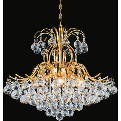 Grimes 6-Light Crystal Chandelier Finish: Gold, Size: 120 H x 24 W x 24 D