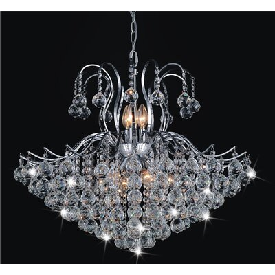 Grimes 6-Light Crystal Chandelier Finish: Chrome, Size: 120 H x 24 W x 24 D