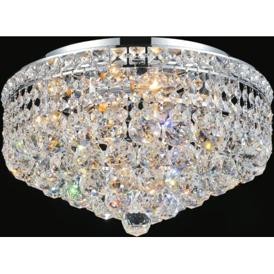 Luminous 4-Light Flush Mount Finish: Chrome, Size: 9 H x 16 W x 16 D