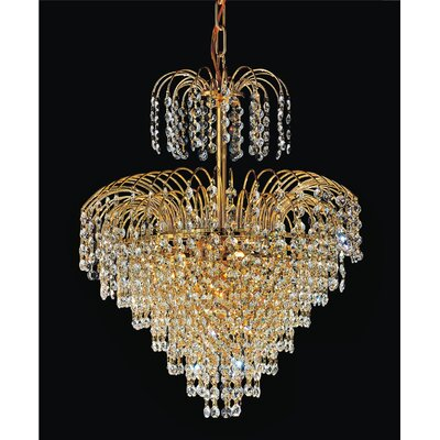 Palm Tree 8-Light Crystal Chandelier Finish: Gold