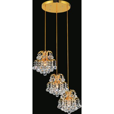 Blossom 3-Light Cascade Pendant Finish: Gold