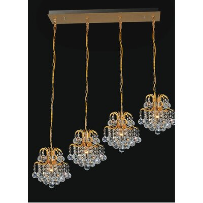 Blossom 4-Light Cascade Pendant Finish: Gold