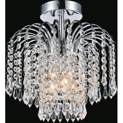 Palm Tree 3-Light Semi Flush Mount Finish: Chrome
