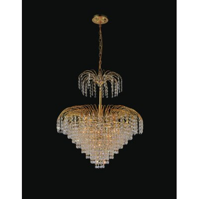 Palm Tree 11-Light Crystal Chandelier Finish: Gold