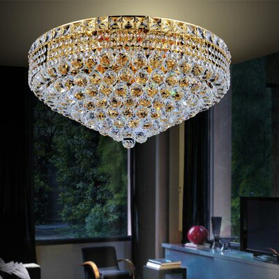 Luminous 12-Light Flush Mount Finish: Gold, Size: 11 H x 22 W x 22 D