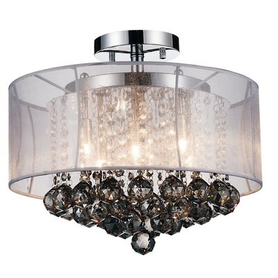 6-Light Semi Flush Mount Shade Color: Smoke White