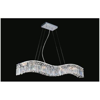 Kasha 7-Light Crystal Pendant Size: 6 H x 25 W x 5 D