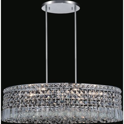 Navya Contemporary 8-Light Drum Shade Crystal Pendant