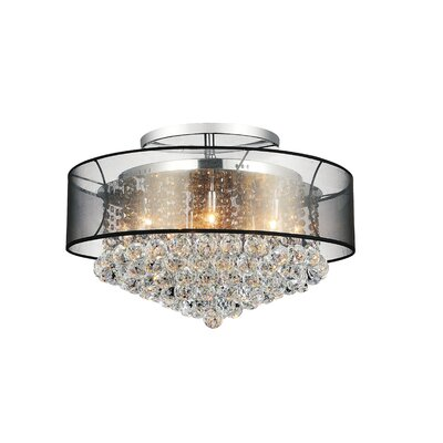 12-Light Semi Flush Mount Shade Color: Clear Black