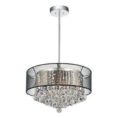 9-Light Drum Pendant Shade Color: Clear Black