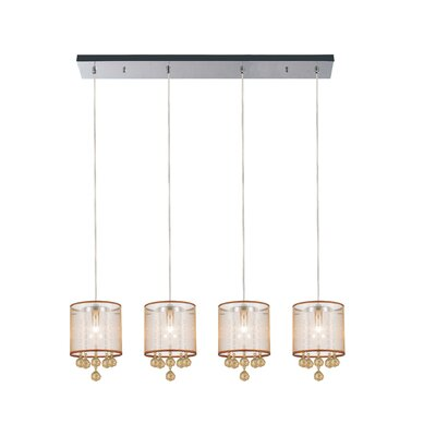 4-Light Kitchen Island Pendant Shade Color: Champagne Gold