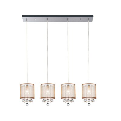 4-Light Kitchen Island Pendant Shade Color: Clear Gold